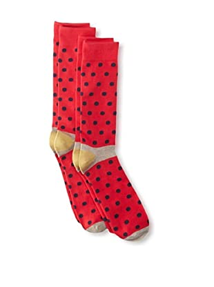 Florsheim by Duckie Brown Men's Polka Dot Socks, 2-pack (Red)