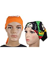 Jstarmart Orange Head Tie With Face Wrap