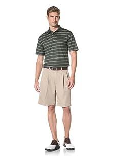 PGA Tour Men's Short Sleeve Stripe Polo (Kombu Green)