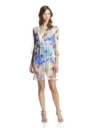 Valery Blu Women's Printed Beach Dress (Blue/Floral)