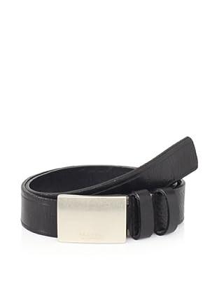 Maker & Company Men's Plaque Double Loop Belt (Black)