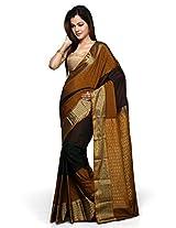 Utsav Fashion Women's Antique, Dark Maroon and Dark Forest Green Art Silk Saree with Blouse