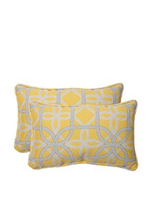 Pillow Perfect Set of 2 Indoor/Outdoor Keene Lumbar Pillows, Yellow