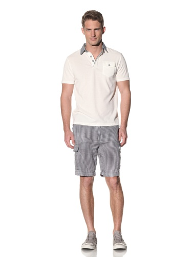 Barque Men's Polo with Contrast Collar (White)