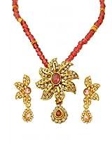 Kshitij Jewels Gold Pink Metal Pendant Jewellery Set For Women (KJ 055)