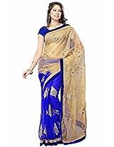 TrendzStyle Half and half Blue coloured Net fabric Saree with velvet blouse piece