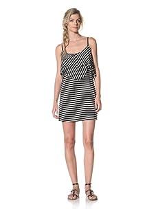 Luna  Women's Heather Tank Dress (Black/White Stripe)