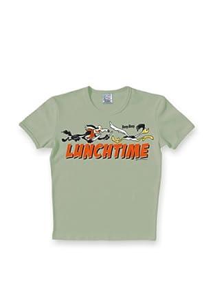 Logoshirt Camiseta Ajustada Looney Tunes Lunchtime (Gris Humo)