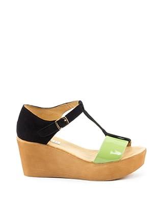 Misu Keil-Sandalette Astra (Grün/Schwarz)