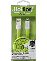 hotips flat charging and sync cable apple 8 pin - green