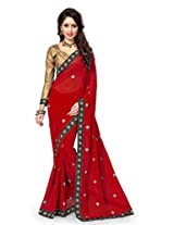 Sourbh Sarees Red Faux Georgette Embroidered Must Have Best Sarees Party Wear,Diwali Durga Puja Gifts for Wife, Women Clothing Collection