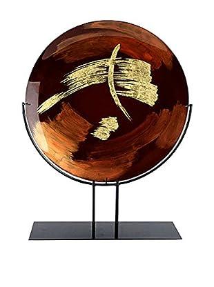 Jasmine Art Glass Round Platter With Metal Stand, Brown/Gold