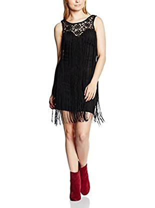 Rare London Vestido Lace Fringe Sleeveless High Neck