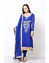 Anaika Blue Georgette Unstiched Anarkali Suit for Women-M202BL