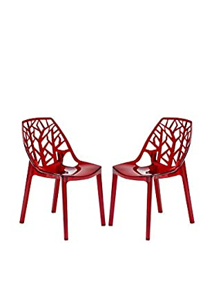 LeisureMod Set of 2 Modern Cornelia Dining Chairs, Transparent Red