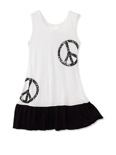Purple Orchid Girl's Peace Dress (White/Black)