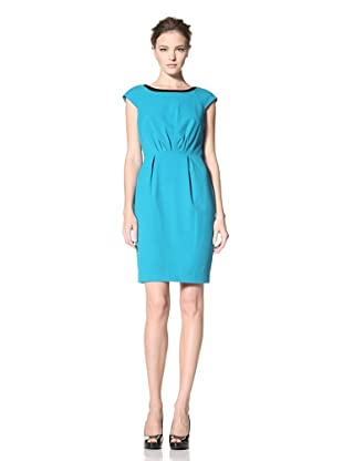 Calvin Klein Women's Cap Sleeve Solid Dress with Pleats (Lagoon)