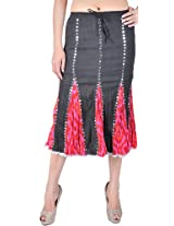 Exotic India Black and Pink Batik Midi-Skirt with Sequins - Color Black And PinkGarment Size Free Size