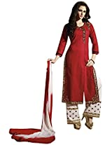Kessi Fabrics Women's Cotton Unstitched Salwar Suit (Red)