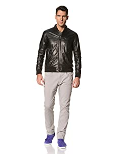 Yigal Azrouël Men's Leather Jacket with Detachable Hood (Coal Grey)
