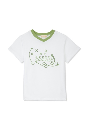Upper School Boys Play V-Neck Tee (Green/white)