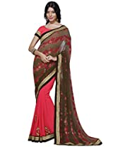 Indian Women Georgette Brown And Pink Saree