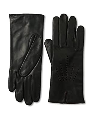 Portolano Women's Leather Gloves with Hand-Embroidered Contrast Stitching (Black/tan)