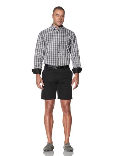 Report Collection Men's Button-Down Check Shirt (Black)