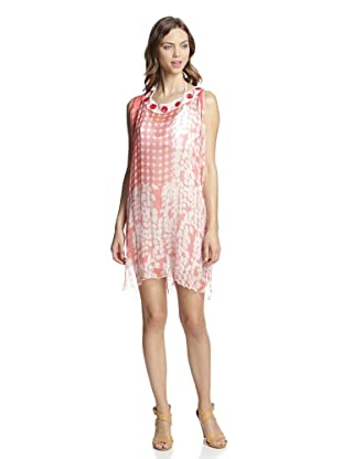 Valery Blu Women's Printed Tunic with Beading (Coral)