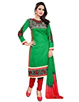 Manvaa Women's Unstitched Dress Material (Green Red_Free Size)