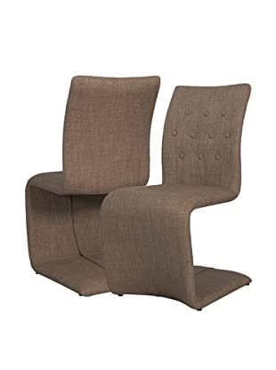 Star International Set of 2 Forma Dining Chairs, Brown/Brown