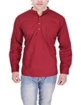 Kalrav Fashion Solid Wine Red Cotton Kurta