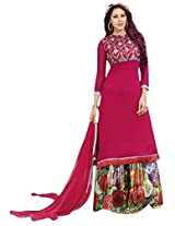 Indainkala4u Chiffon Embroidered Digital Print Salwar Suit Dress Material, Plum Red