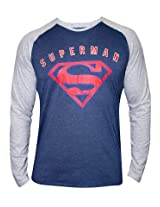 Superman Twilight Blue Melange Round Neck Full Sleeves T Shirt