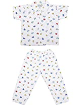 Little Stars Boys' Top and Pyjama Set (Nightsuit_Bustaxi_1-2 years, White, 1-2 years)
