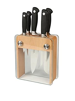 Mercer Culinary Genesis 6-Piece Forged Knife Block Set, Black/Steel
