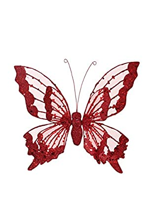 Winward Double Winged Medium Butterfly Ornament, Red