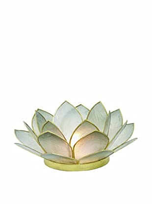Torre & Tagus Lotus Capiz Shell Tealight Holder, Smoke