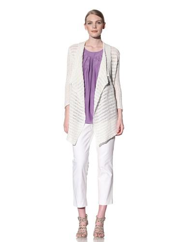 Lafayette 148 New York Women's Open Front Cardigan (Linen White)