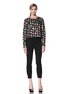 Moschino Cheap and Chic Women's Quilted Jewel-Print Jacket (Black/Multicolor)
