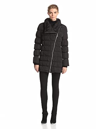 Calvin Klein Women's Long Moto Puffer Jacket (Black)