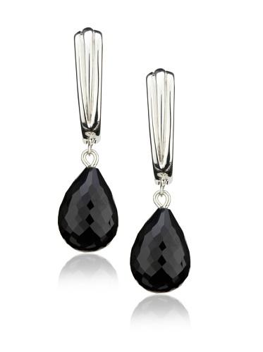 Robin Rotenier Large Wire Earrings, Silver/Black Onyx