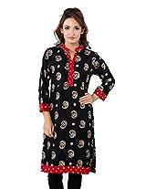 TeeMoods Women Casual Cotton Printed Kurti_TM-1565PAISLEY-BLACK -XL