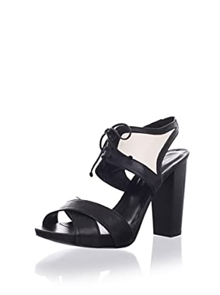 Rebecca Minkoff Women's Demitasse Lace-Up Peep Sandal (Black/Cream)