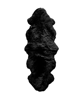 Natural Brand New Zealand Double Sheepskin Rug, Black, 2' x 6'