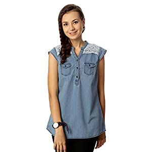 People Denim Shirt With Lace Trims