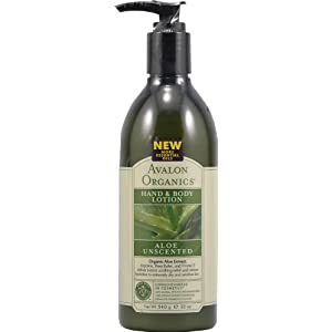 Avalon Organics Hand & Body Lotion, Aloe, Unscented, 12 Ounce