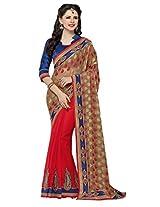 Orange Beige Wedding Saree Patch Embroidery Work Chiffon Sari