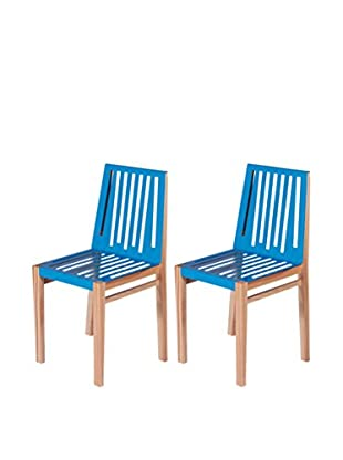 nine6 Set of 2 Marlowe Chairs, Natural Ash/Blue