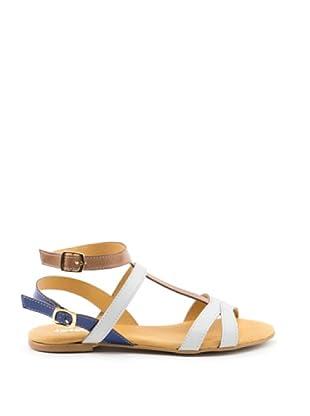 Misu Sandale Doppelte Schließe (weiß/kamel/meerblau)